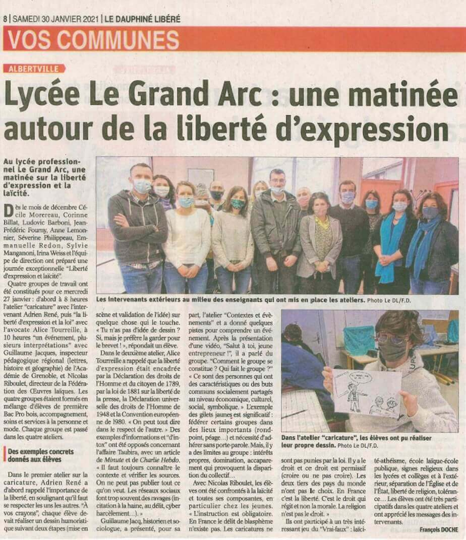 Article intervention dessin - Lycée du grand Arc Albertville