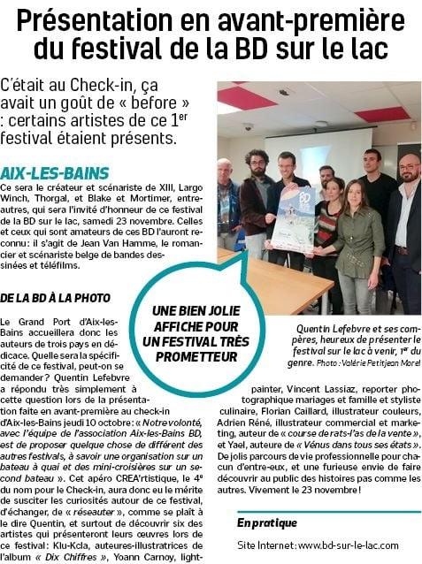 Article de présentation du festival de la Bande dessinée d'Aix les bains. Participation de Course de Rats BD !