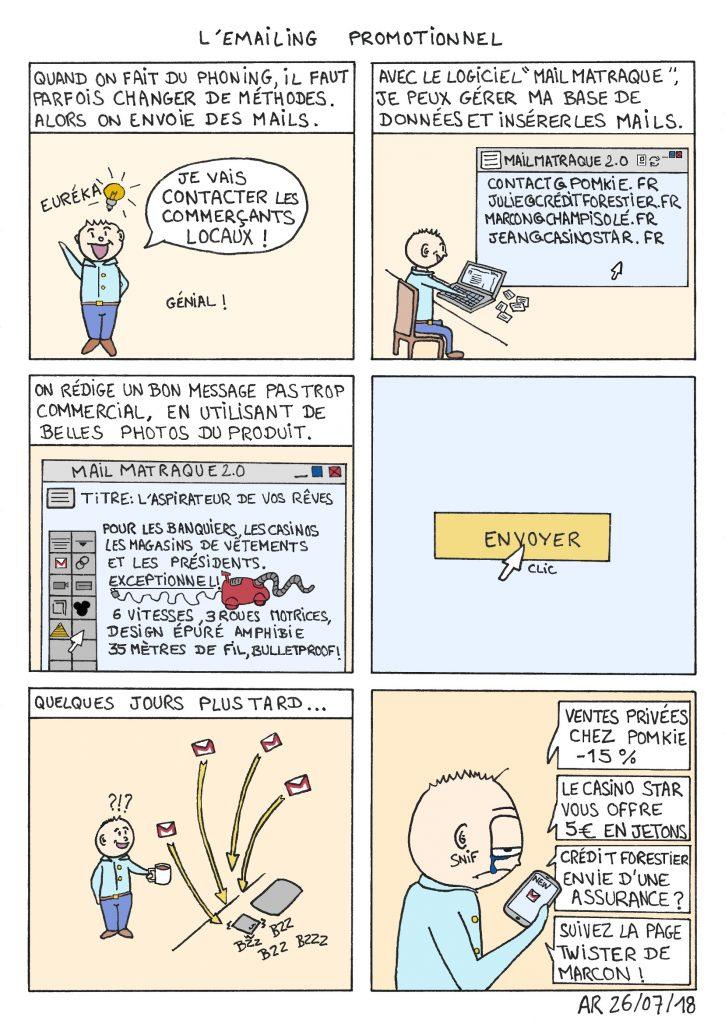 Blague drôle sous forme de BD d'humour - L'emailing professionnel webtoon.