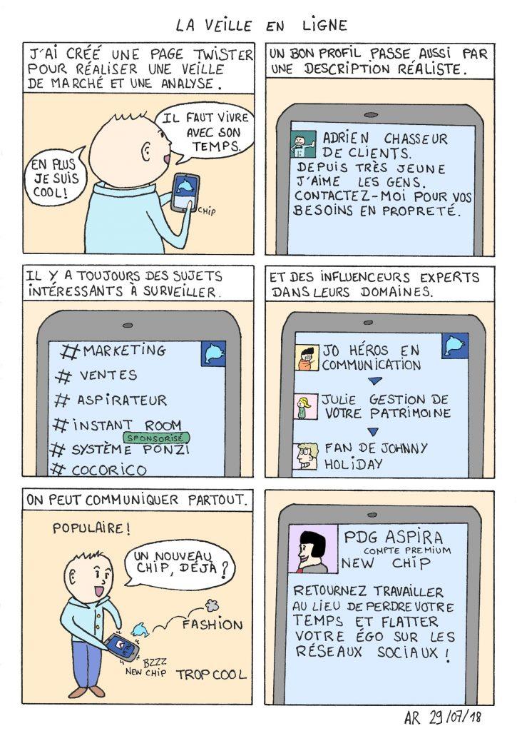 La veille en ligne - bande dessinée amusante - BD en ligne