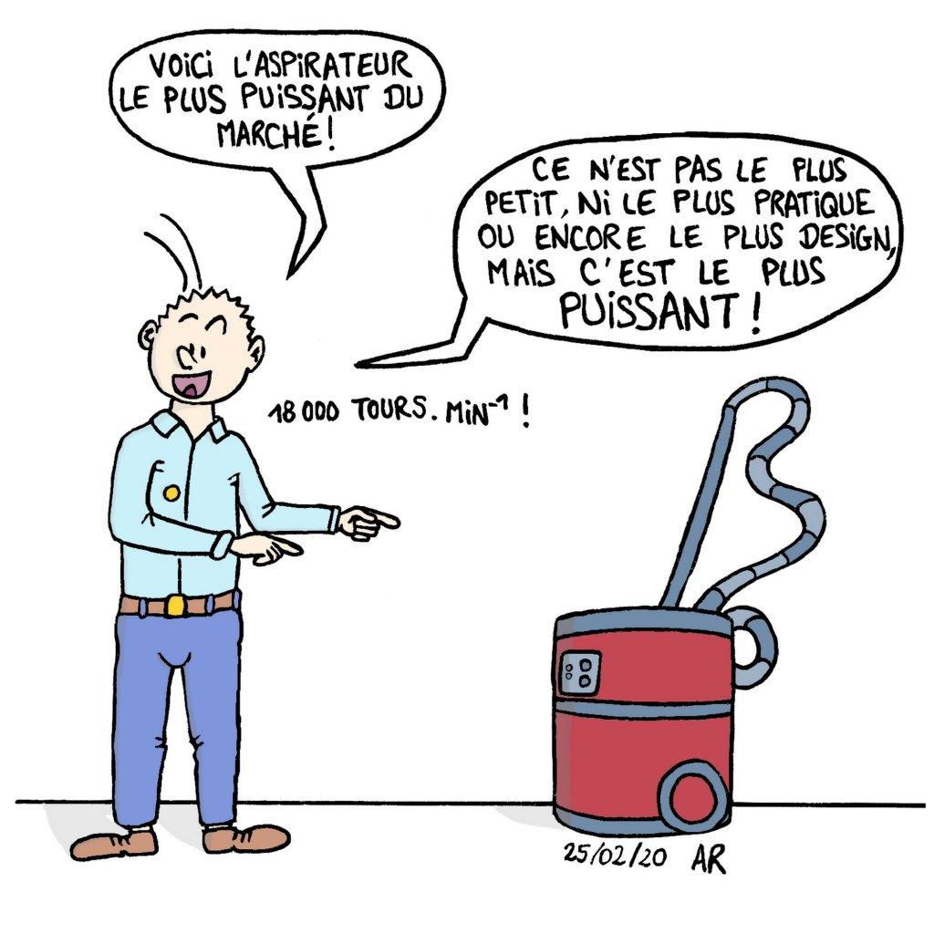 Dessin marrant sur le vendeur d'aspirateur - image drôle