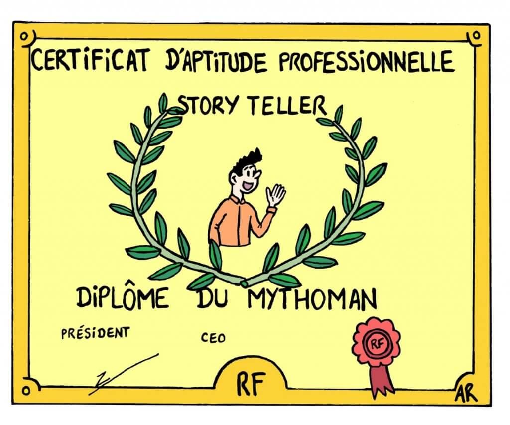 Dessin d'humour le diplôme de storytelling.