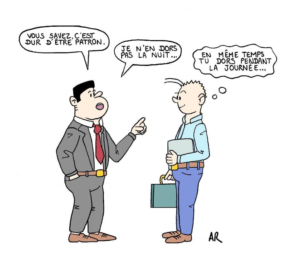 Illustration et satire - Le patron raconte sa vie à ses salariés