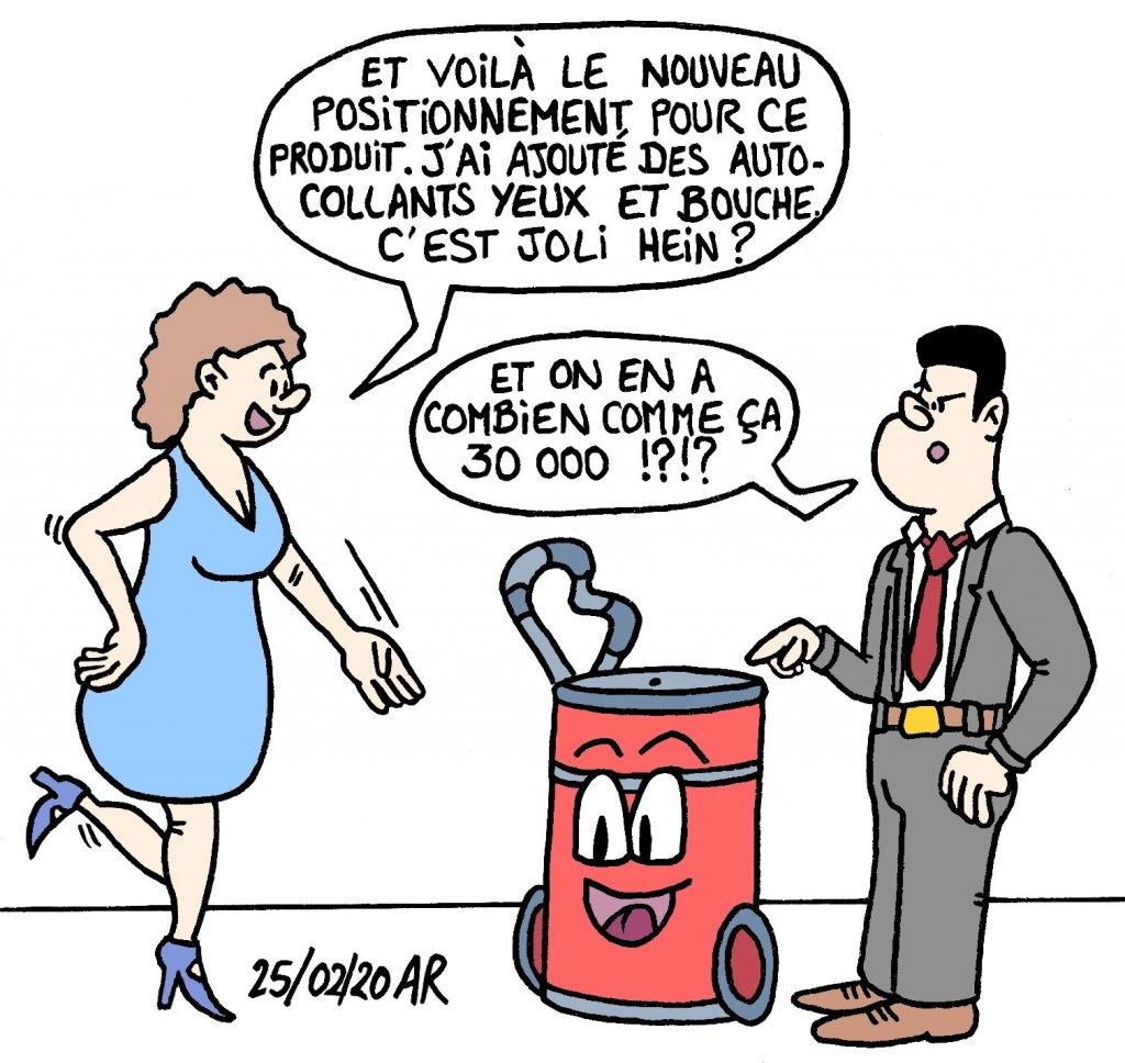 Dessin travail, positionnement marketing - blague