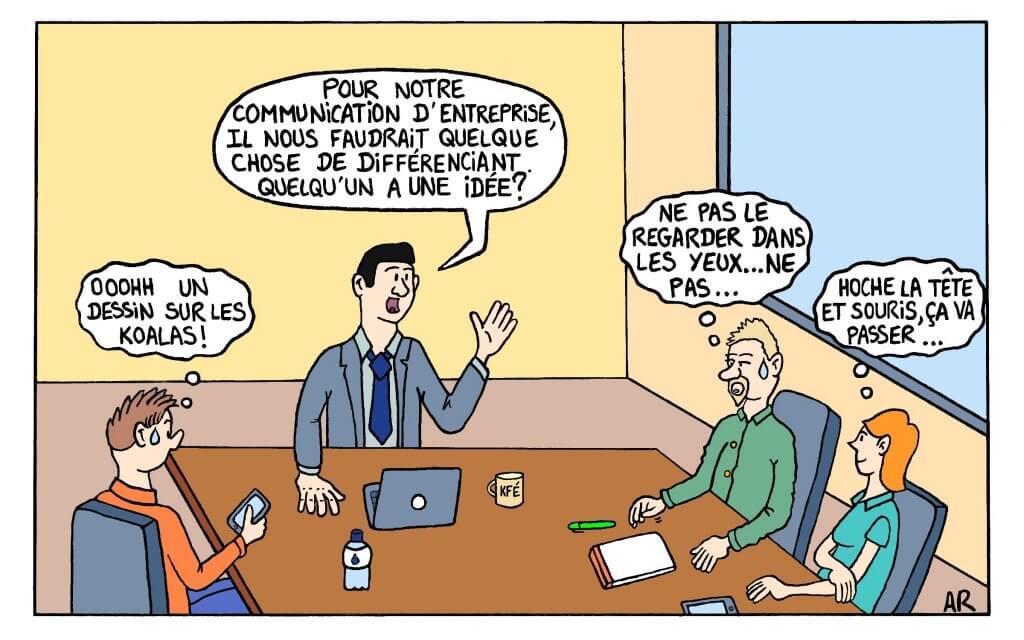Réunion de travail sur les supports de communication dessin drôle