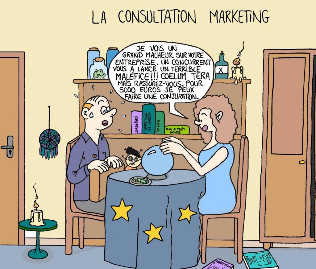 Dessin sur le marketing prédictif en entreprise - blague du jour