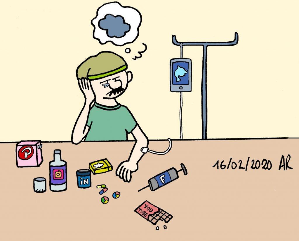 image humoristique de l'addiction aux réseaux sociaux