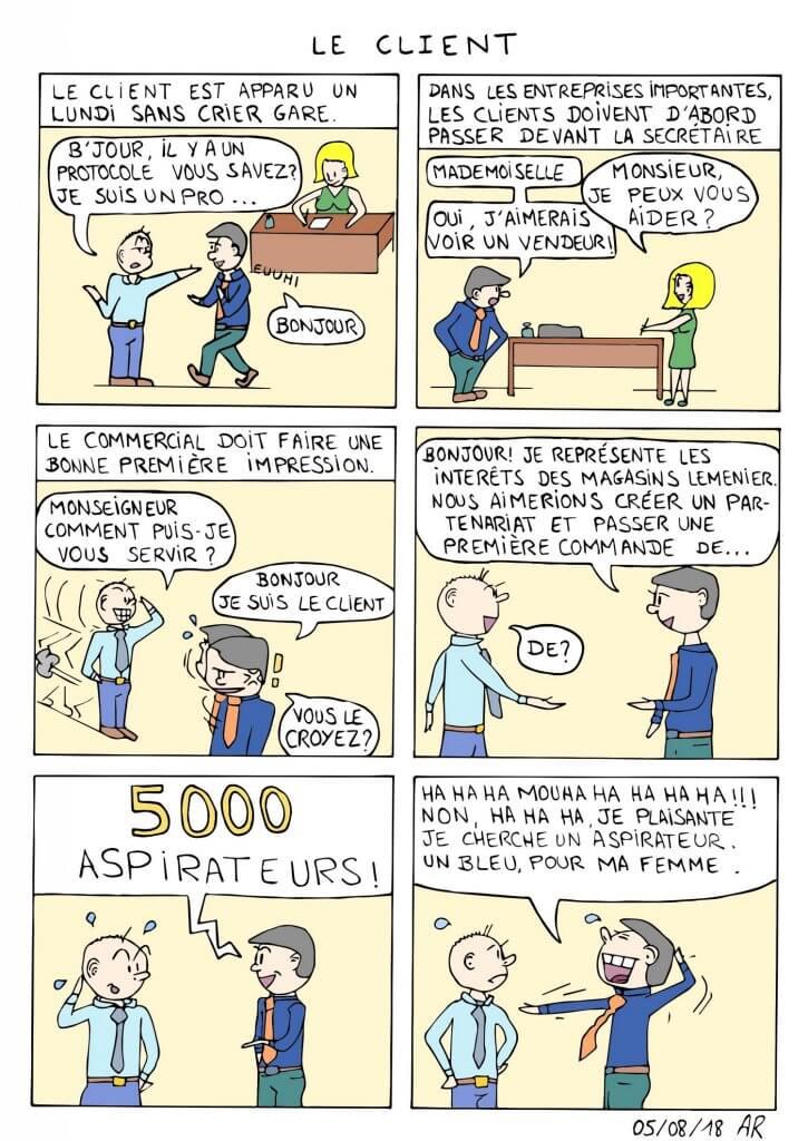 Illustration bd - Le client vient à l'agence - Bande dessinée comique