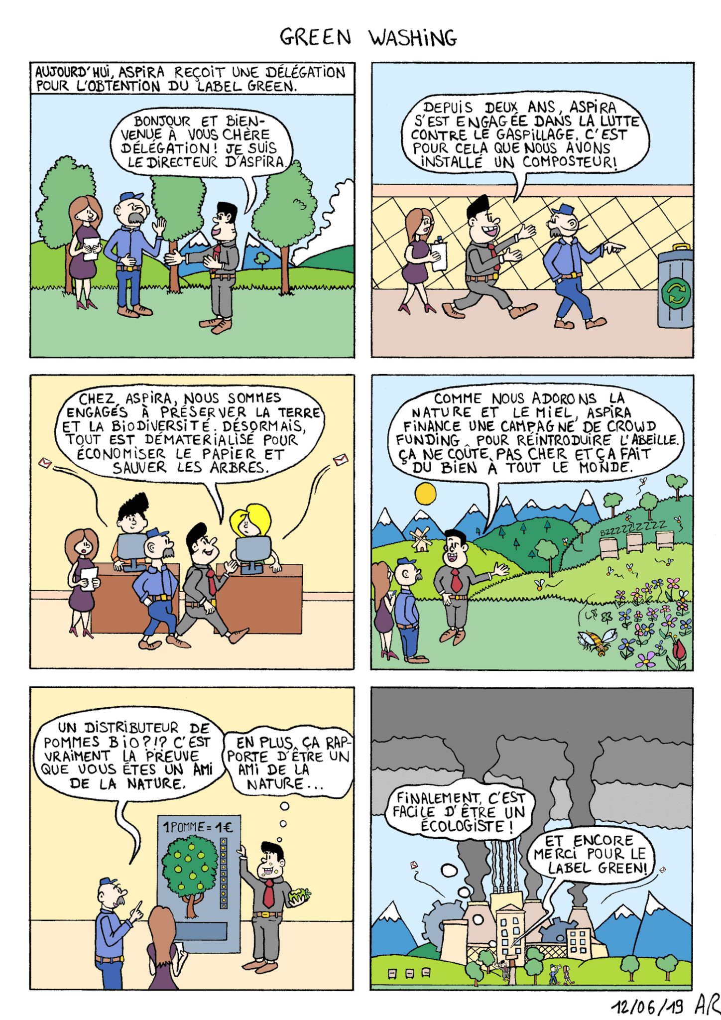 Bande dessinée sur l'écologie entreprise - dessin et environnement - web toon