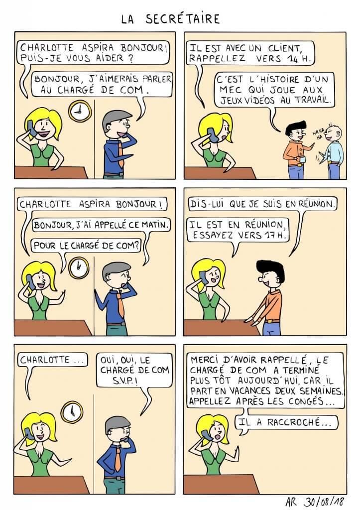 Webtoon Français - Bande dessinée hilarante sur la secrétaire.