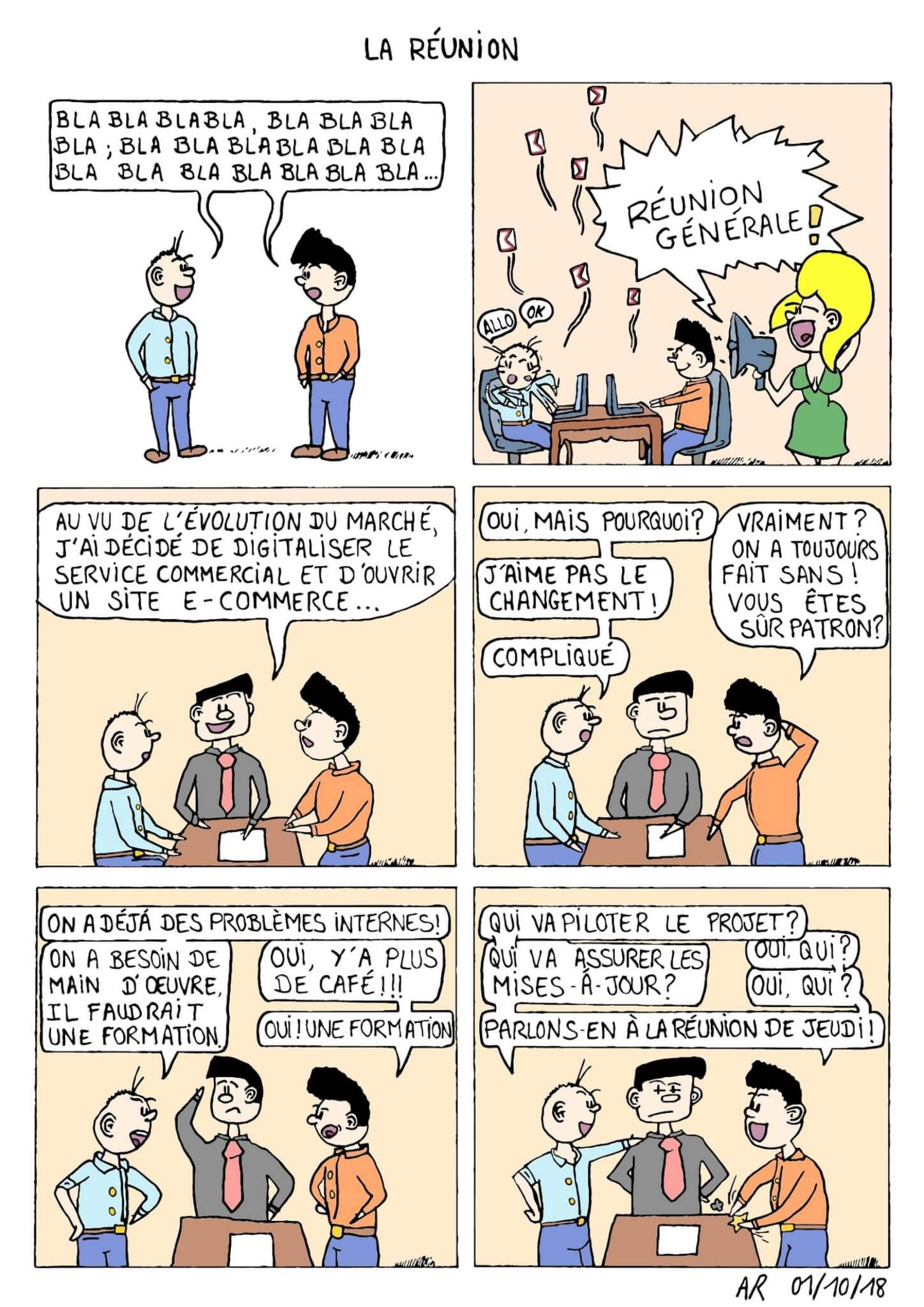 BD humoristique sur les réunions en entreprises. Web toon