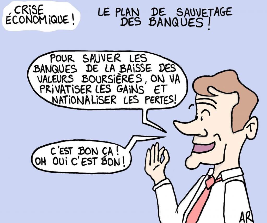 Dessin d'humour de Macron sur la politique et la politique de crise économique.