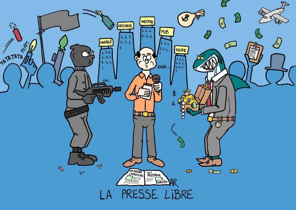 Satire humoristique de la presse entre argent et menace