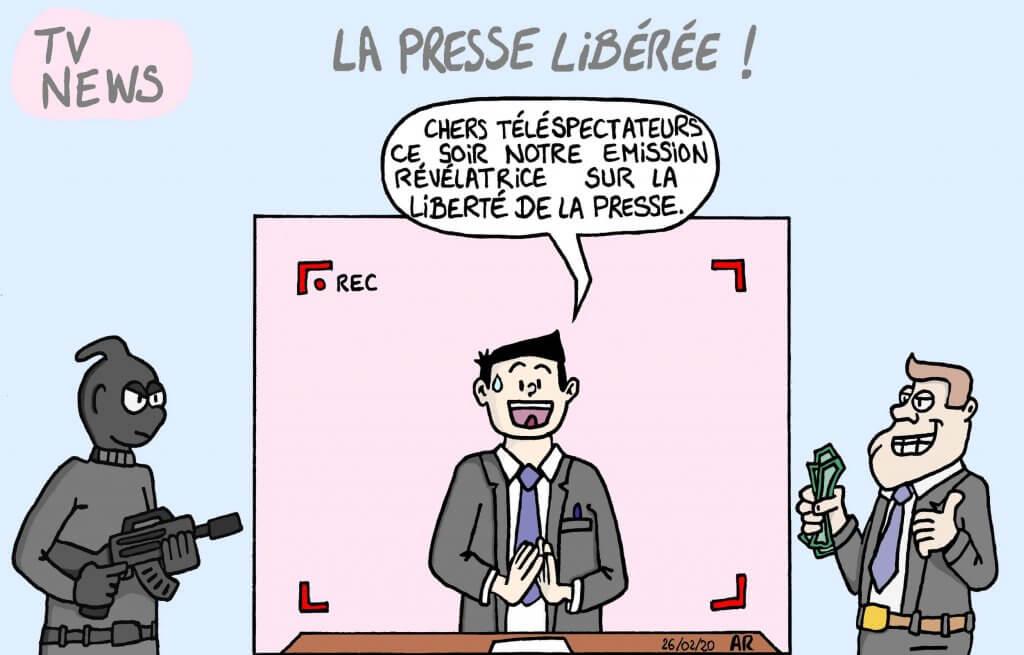 Dessin d'humour sur la liberté de la presse.