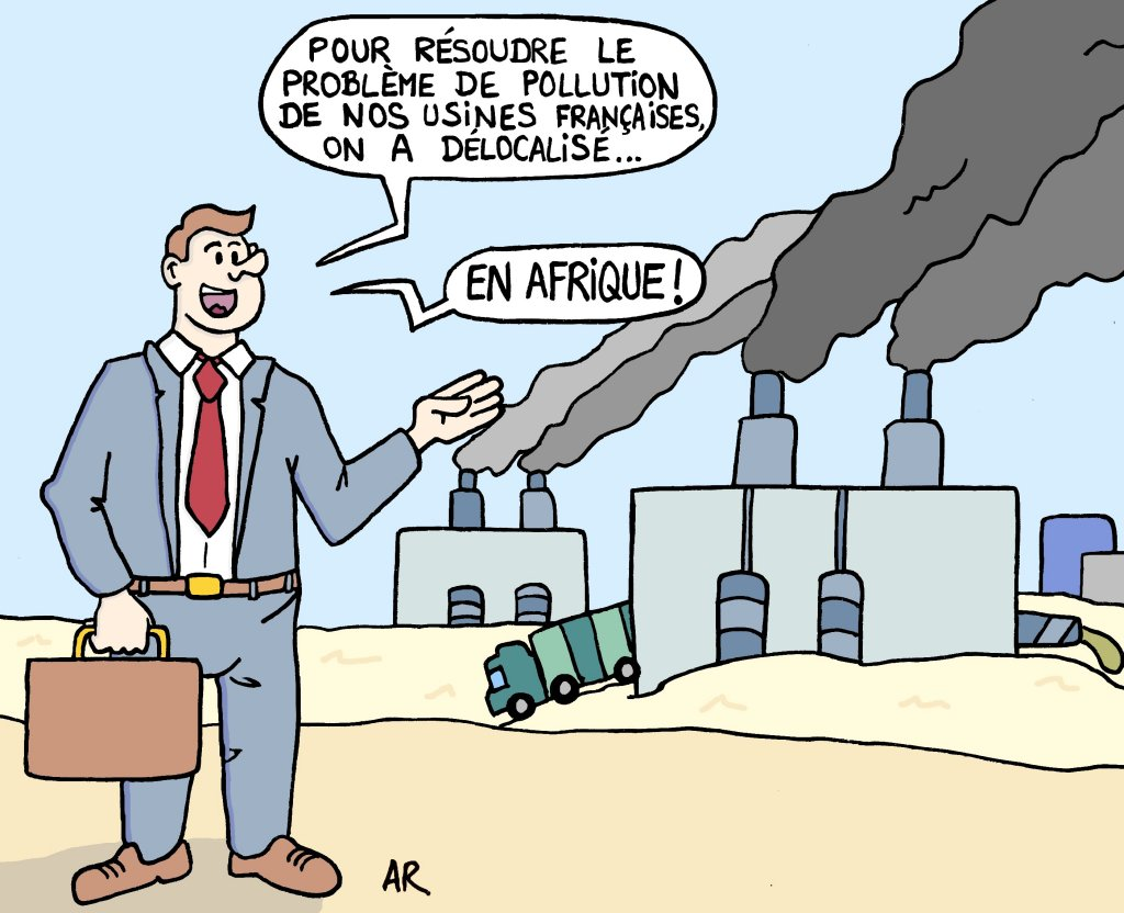 Dessin humoristique - écologie et environnement - Une blague sur la pollution de l'air et de l'eau
