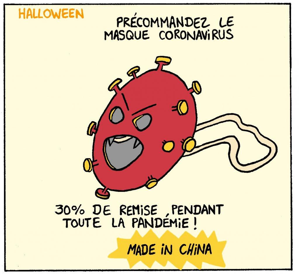 Dessin d'halloween - déguisement et masque du virus COVID 19