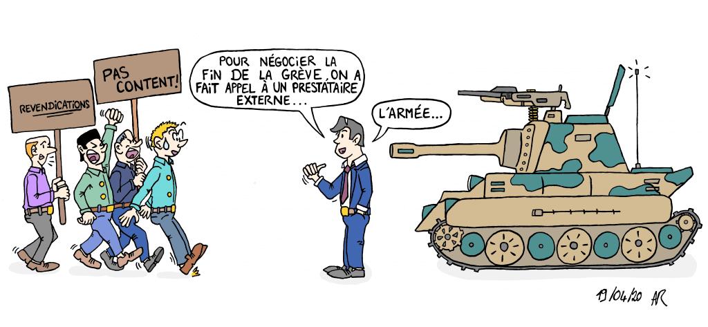 Dessin humorisitque- Quand on engage l'armée en intérim pour résoudre les crises