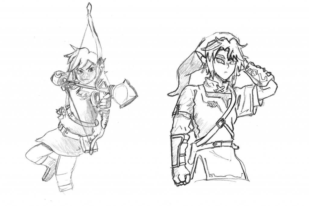 Dessin style manga de jeux vidéo - Zelda