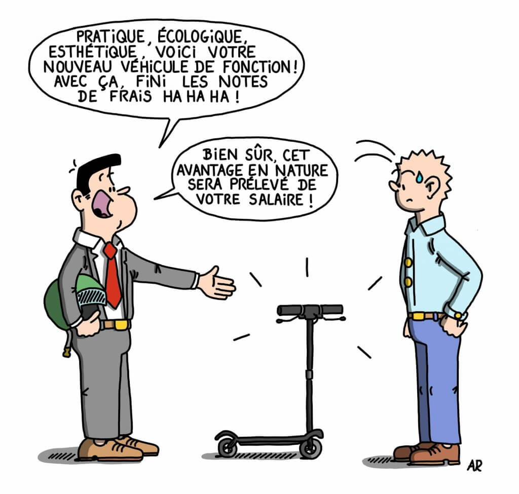 Dessin humoristique sur la trottinette électrique - Blague, dessin et humour