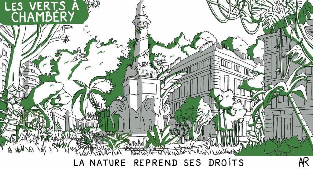 La fontaine des 4 sans cul à Chambéry - Dessin