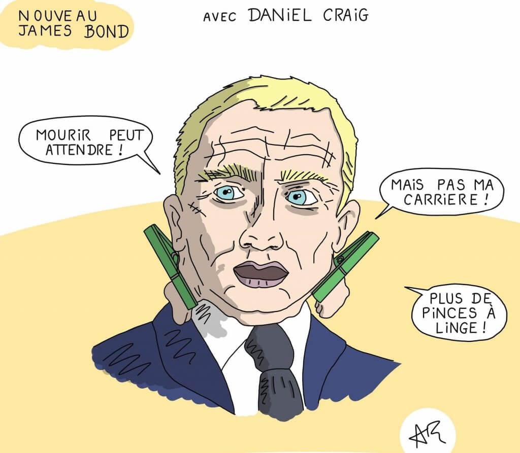 Dessin humoristique du film James Bond 007 - Mourir peut attendre avec Daniel Craig