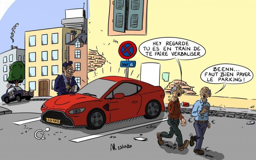 Dessin humoristique de voiture drôle